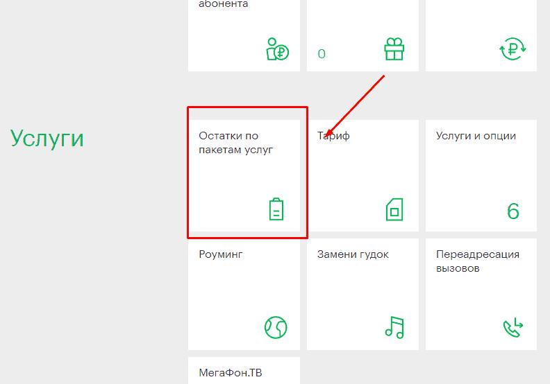 Услуги: остатки по пакетам услуг