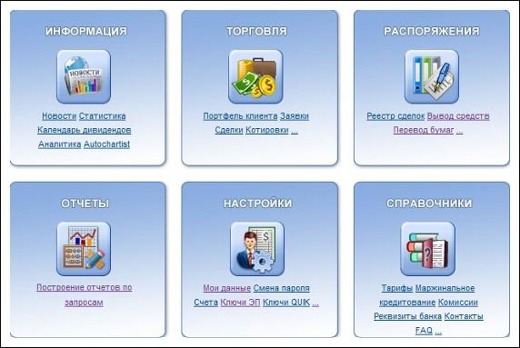 Основной интерфейс личного кабинета
